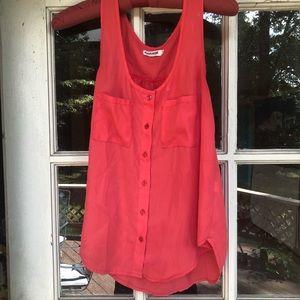 Red-orange Garage button-down tank top w/ pockets